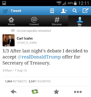 Tweet from Billionaire Carl Icahn